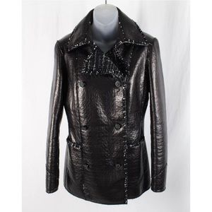 Chanel black leather tweed lining jacket coat 40 M